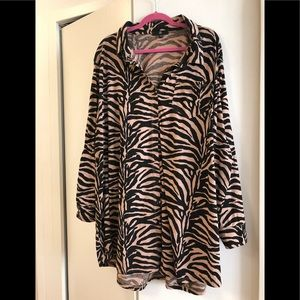 Rust/brown Zebra Print Shirt Dress